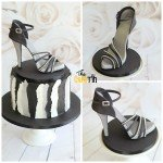 Black white and silver shoe cake